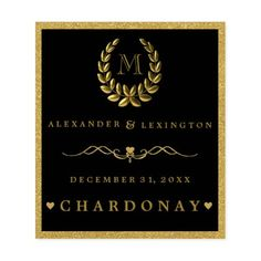 #wedding - #Gold Glitter Laurel Wreath Monogram Wedding Wine Label