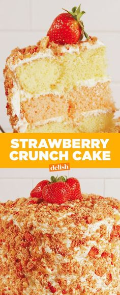 This Strawberry Crunch Cake Is Your Favorite Summer Ice Cream Bar In Cake FormDelish Mini Cakes, Cupcake Cakes, Cupcakes, Poke Cakes, Layer Cakes, Strawberry Crunch Cake, Strawberry Jello, Strawberry Desserts, Strawberry Pudding