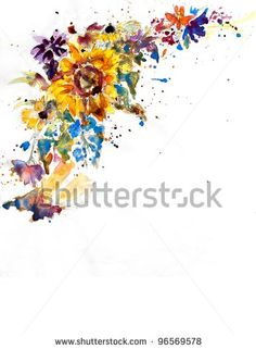 original art, watercolor painting of sunflower bouquet border on white by Knumina Studios, via ShutterStock