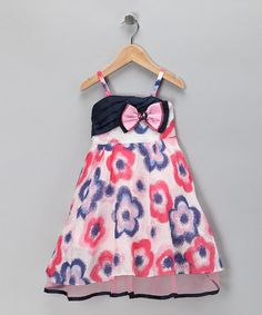 Take a look at this Pink & Blue Flower Bow Dress - Toddler & Girls by Bonny Billy on #zulily today!