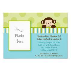 Lil Mod Monkey Photo Birthday Invitations