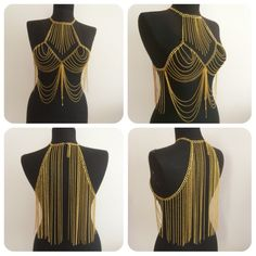 gold body necklace, vest chain, body harness, gold body  harness, festival jewelry, body jewelry, body chain, *76* by MukoShop on Etsy