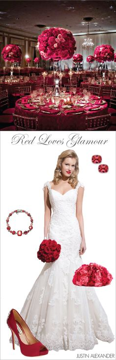 Wedding Day Look: Red Loves Glamour ~ brought to you by @jabridal