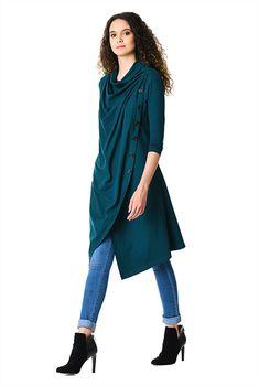 0adfd0cf8e I  lt 3 this Cowl neck cotton knit asymmetric wrap tunic from eShakti Cowl  Neck