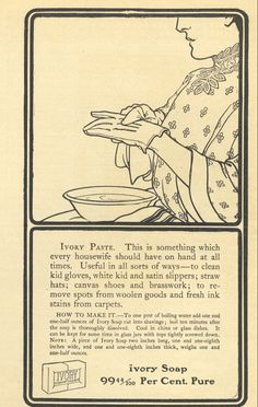 1906 Ad Ivory Soap Gives Recipe for Paste to Clean Kid Gloves Original Print Advertising