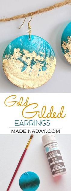 DIY Gold Gilded Earrings & Jewelry Bowl Glam up some inexpensive earrings & a thrift store bowl with gold gilding! Gold Plated Earrings, Beaded Earrings, Earrings Handmade, Beaded Jewelry, Gold Jewelry, Glass Earrings, Earrings Uk, Diy Jewellery, Shell Earrings