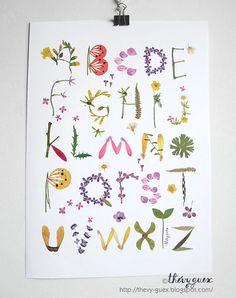 Herbarium Alphabet Flower botanischen Wand Kunst Poster