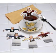 Book Club Idea: tea bags with images of classic wordsmiths: Goethe, Dante, Voltaire, Schiller, and Shakespeare