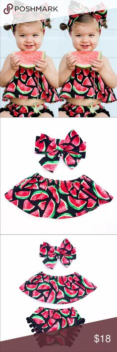 NEW Baby Girl 3pcs Watermelon Childrens Set Adorable 3pcs Baby Girl Watermelon Outfit. Set includes Butterfly Sleeve Ruffled Top, Pants and Headband. Dress your little princess in style!!   P7 Matching Sets
