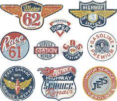 Tankstelle vintage vector badges wallstickers !