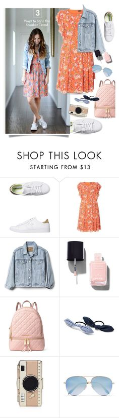 """""""Sneaker Trend"""" by queenofsienna ❤ liked on Polyvore featuring Converse, Gap, MICHAEL Michael Kors, New York & Company, Kate Spade and Victoria Beckham"""