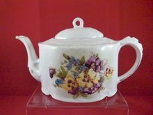 Charming Porcelain Teapot with Pansies! Marked a present from Sligo, $39