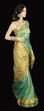 Sea green and gold kanchi saree for weddings