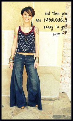 tutorial on how to trim down over-long flared jeans... though i'm pretty sure i wore a variation of this out fit my sophomore year in high school, I'm somewhat drawn to it.