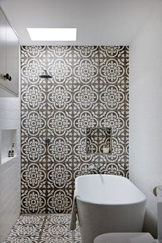 bathrooms - wet room, wet room bathroom, accent tiled wall, gray and white patterned tile, oversized gray and white patterned bathroom tile,...