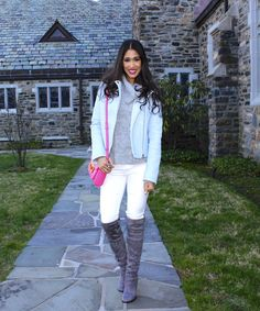 How to Exude Spring When Winter Won't Leave! - The Style Contour | how to dress for spring when it's cold outside, spring outfit idea, how to wear a baby blue leather jacket, how to wear grey boots, how to wear pink lipstick, grey cable knit sweater, style tips, fashion tips, pink cross body purse