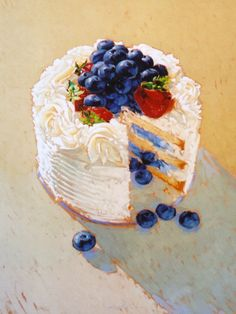 Dessert Art Chantilly Cake painting by Kim Starr. Dessert Illustration, Food Painting, Cake Painting, Watercolor Food, Watercolor Paintings, Painted Cakes, Food Drawing, Food Illustrations, Aesthetic Food