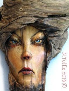 """""""A Spell on You"""" 7½ inches tall and 5¼ inches at her widest point. I've added just a touch of color using oil paints. Signed and dated: N. Tuttle 10/29/14"""