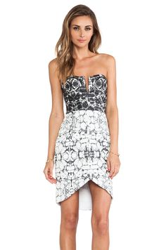 #REVOLVEclothing Marble bustier dress in black/white