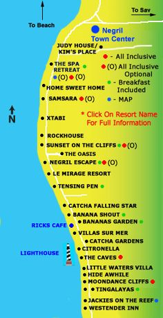 Negril Cliff Resorts Map - Negril, Jamaica Resorts and Hotels