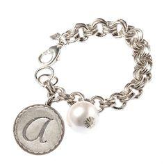 "John Wind Sorority Gal Silver-Toned Initial A Bracelet With Pearl, 8-8.5"""