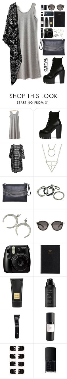 """""""Romwe 4"""" by scarlett-morwenna ❤ liked on Polyvore featuring Moncler, Fujifilm, Prada, Tom Ford, Living Proof, MAKE UP FOR EVER, Eight & Bob, Forever 21, NARS Cosmetics and romwe"""