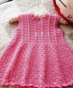Pink crochet dress ♥LCK-MRS♥ with nuce diagrams. ---Как связать платье для девочки крючком
