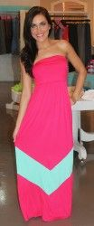 Tube Maxi-Fuchsia/Mint - Dottie Couture Boutique