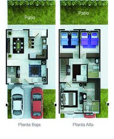 Planos de casa en 90m2 de terreno 6m x 15m planos de for Plantas arquitectonicas de casas