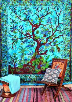 Ethnic Blue Tree Of life Cotton Mandala Tapestry Hippie Throw Queen Bedding Bedspread Art Bohemian Wall Hanging Indian Handmade Blanket Tree Of Life Tapestry, Mandala Tapestry, Bohemian Dorm Rooms, Bohemian Decor, Hippie Bohemian, Hippie House Decor, Bohemian Interior, Modern Bohemian, Jaipur