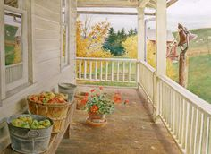 Cross Stitch Collectibles - - - Autumn Porch - All cross stitch - Americana cross stitch - Floral cross stitch - Nature cross stitch - Seasons cross stitch - Cross Stitch Collectibles David Armstrong, Down On The Farm, Home Photo, Shades Of Green, Large Prints, Garden Art, Home Art, Outdoor Structures, Patio