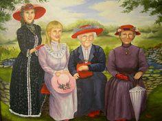 """Sisters"" Painting by Linda Hass, Red Hat Sisterhood"