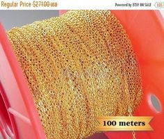 15% SALE One spool 100M bulk chains, gold brass cable chains, wholesale jewelry chain, B008-Bg-Bulk (1 spool)15% SALE One spool 100M bulk chains, gold brass cable chains, wholesale jewelry chain, B008-Bg-Bulk (1 spool)