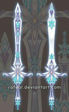 Sword, flower, blue, sheath; Anime Weapons