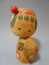 Japanese Vintage Wooden Kokeshi Doll 13cm / Travel Costume