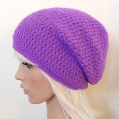 You can make this cute Purple Crochet Beanie Pattern in this beautiful shade or another color of your choosing. This is great for anyone to showcase their stylish fashion. Crochet Slouchy Beanie Pattern, Beanie Pattern Free, Easy Crochet Hat, Crochet Baby Hats, Free Crochet, Free Pattern, Double Crochet, Crochet Ideas, Crochet Projects
