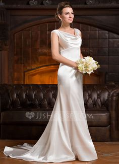 Trumpet/Mermaid Cowl Neck Court Train Charmeuse Wedding Dress With Ruffle Lace Beading Sequins (002056232) - JJsHouse