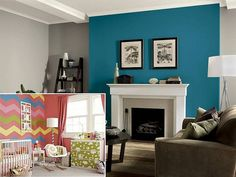New living room grey and blue walls 48 Ideas Living Room Turquoise, Paint Colors For Living Room, Living Room Grey, Home Living Room, Living Room Pictures, Living Room Modern, Living Spaces, Home Decor, Blue Walls