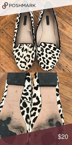 Zara animal print flats Cute black white animal print faux hair flats; worn but still in great condition Zara Shoes Flats & Loafers
