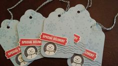 Snowman Christmas gift tags - all stamps from Stampin Up