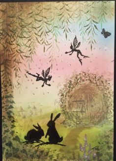 Lavinia Stamps Cards, April Challenge, Silhouette Painting, Beautiful Fairies, Marianne Design, Artist Trading Cards, Card Tags, Paper Background, Art Journals