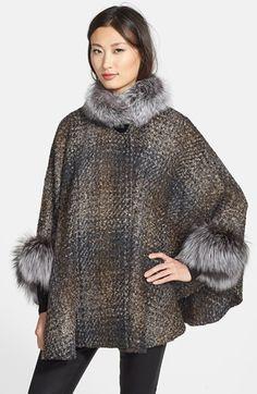 HIDE SOCIETY HIDESOCIETY Genuine Fox Fur Trim Plaid Bouclé Cape available at #Nordstrom