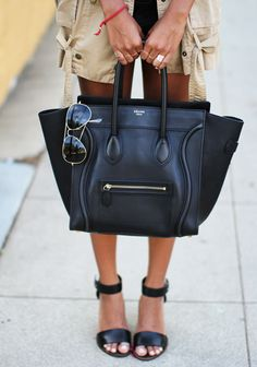 Black leather accessories.