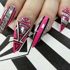 Pink white zebra print abstract tribal stiletto nailart nails design @rainbownailssalon1