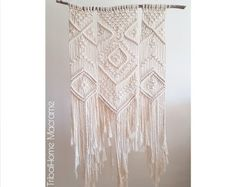 Macrame wall hanging woven on branch, large tapestry, wall art, bohemian boho home decor, modern macrame, wedding backdrop Hippie Bohemian, Boho Gypsy, Hippie Chic, Boho Chic, Woodstock Festival, Large Tapestries, Boho Life, Ethnic Print, Beautiful Handbags