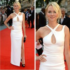 Naomi Watts at the 'Diana' premier wearing a stunning white Versace dress