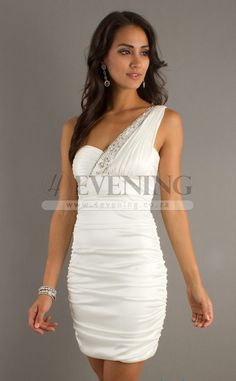 Formal Ivory One Shoulder Column/Sheath Cocktail Dress(JT4E-0064)