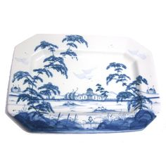 Isis Blue Palladian American Villa Large Patter -   This platter is made in the Palladian series from Isis Ceramics and features the American Villa Design.  It would bring joy to any room.    Width 40cm  Height 28.5cm