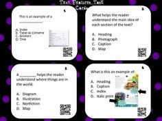 These+task+cards+will+help+with+independent+and/or+group+work+when+teaching+about+nonfiction+task+cards.+They+are+multiple+choice+with+QR+codes+for+immediate+feedback+on+answers.