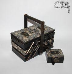 2 Sewing / knitting needles box with pin cushion sewing machine, thread, needle, wood